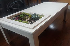 Upcycled table planter