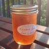 A single jar of rhubarb jam in the sunlight
