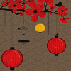red lanterns and red flowers