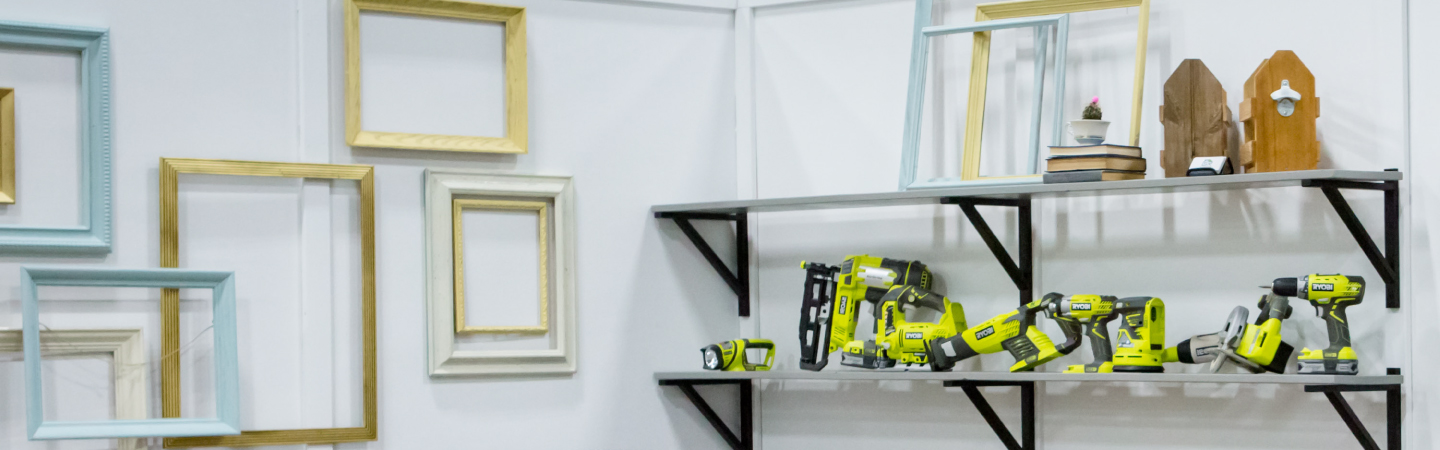 Handyman tools and wooden wall frames