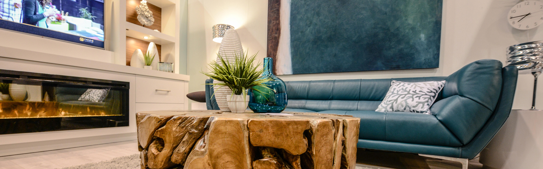blue sofa with stump