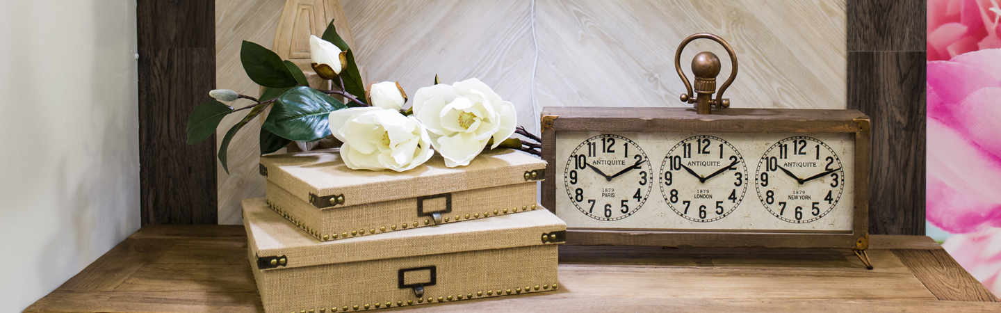 decor with clocks on a table