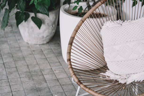 Patio Furniture and Potted Plants