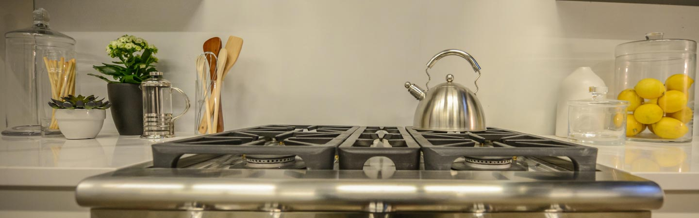 stainless steel stovetop and kettle