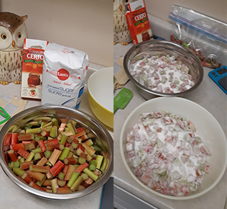 Rhubarb Jam ingredients ready to go and mixed with sugar in the first steps.