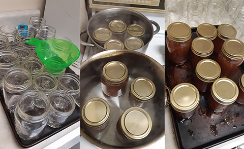 Filling jars with jam and setting them to boil.