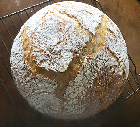 A rustic loaf of no-knead bread