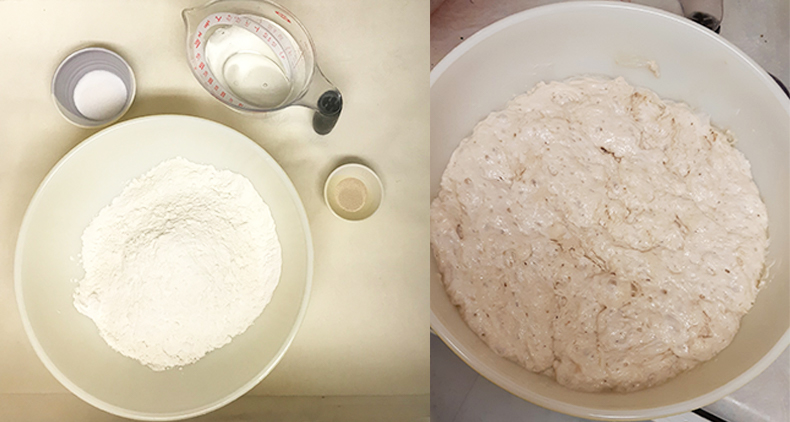 Ingredients and proofed dough for no-knead bread