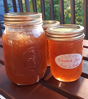 3 Jars of Rhubarb Jam in the sun