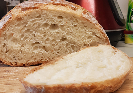No-knead bread sliced