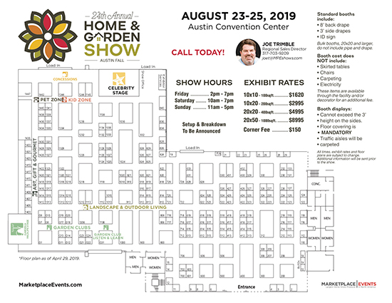 Austin Home And Garden Show 2020.Floor Plan Rates Contract For The Austin Fall Home