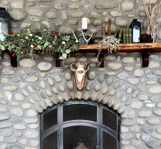 Mantel with Rustic Holiday Decor