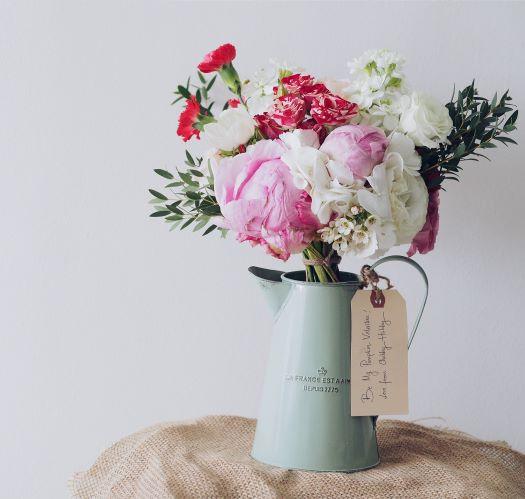 Floral Display in Teal Vase