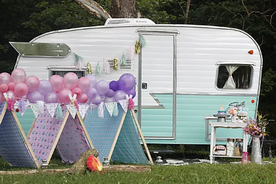 Shasta Camper and Glamorous Tents