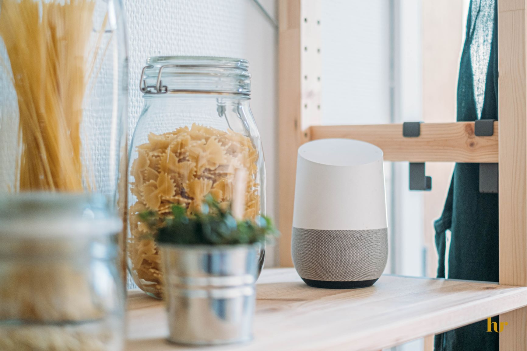 Kitchen with Smart Device on Shelf