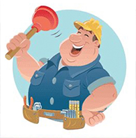 Snappy Services logo; a cartoon image of a portly plumber wielding a plunger and wearing a hard hat.