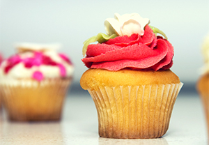 Vanilla cupcake with red icing