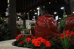 Feature Gardens Red Flowers with Planter