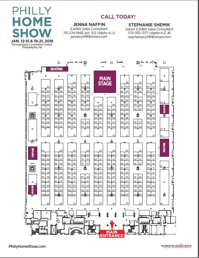 Floor Plan, Exhibitor Rates & Contract for the Philly Home Show