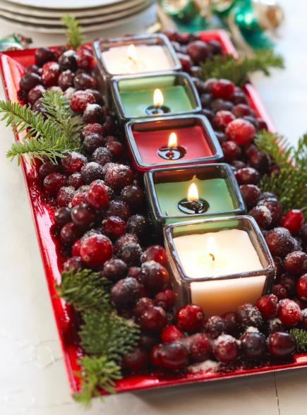 Cranberries and Votives in a Serving Dish
