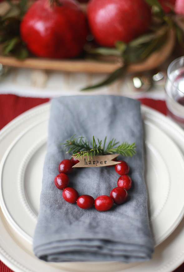 Cranberry Wreath Table Setting