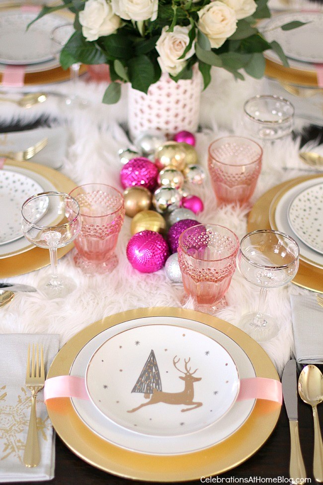 Pink and White Holiday Settings
