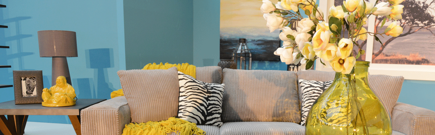 Sofa in a living room with home decor