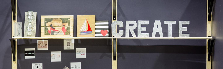 Shelf with CREATE decor