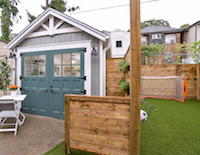 Backyard with shed and soccer net
