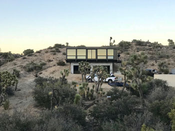 Modular container home in the desert.