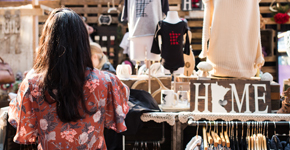Shopper looking at clothing