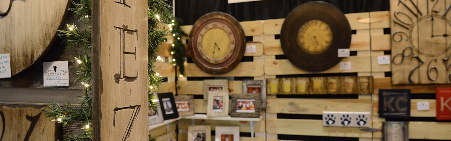 Wooden crafts on a display wall