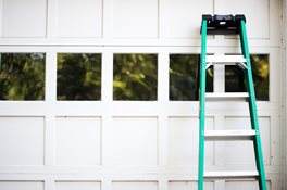 Garage Door with Green Ladder