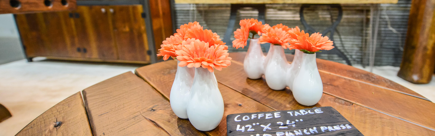 coral flowers in vases