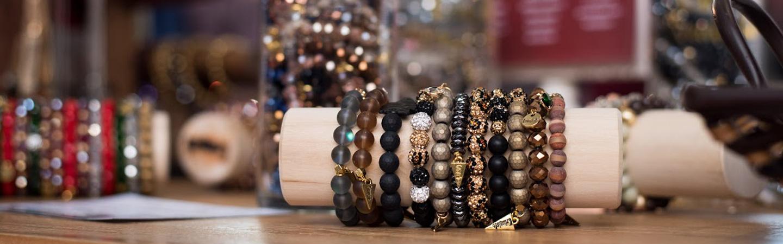 Jewellery on display rack