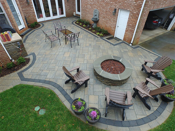 Fun Outdoor Living Hero Image of Patio with Fire Pit from above