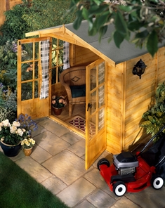 Shed with Decor and Lawnmower