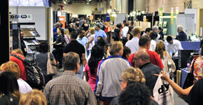 Attendees on show floor