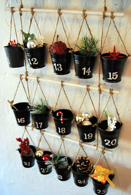 Advent calendar made from hanging buckets