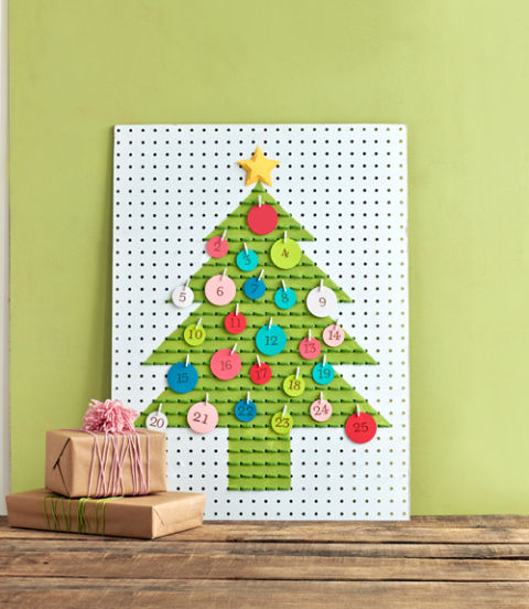 Advent calendar made using pegboard