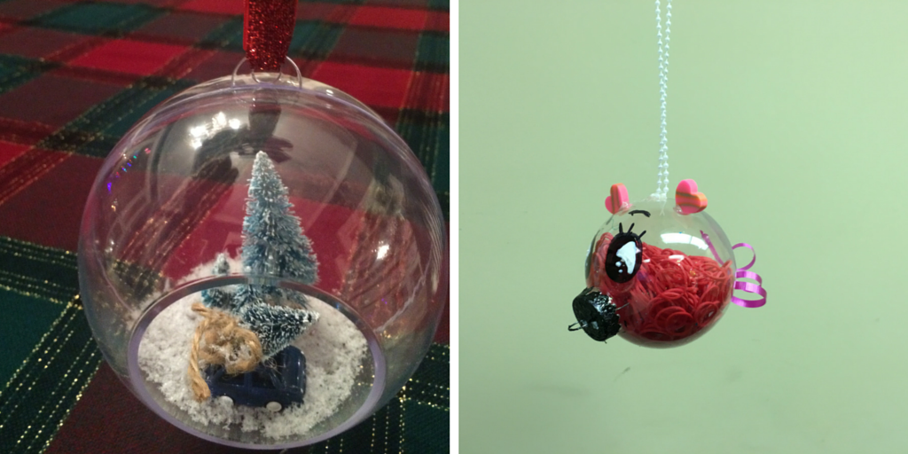 Christmas Scene Ornament and Piglet Ornament