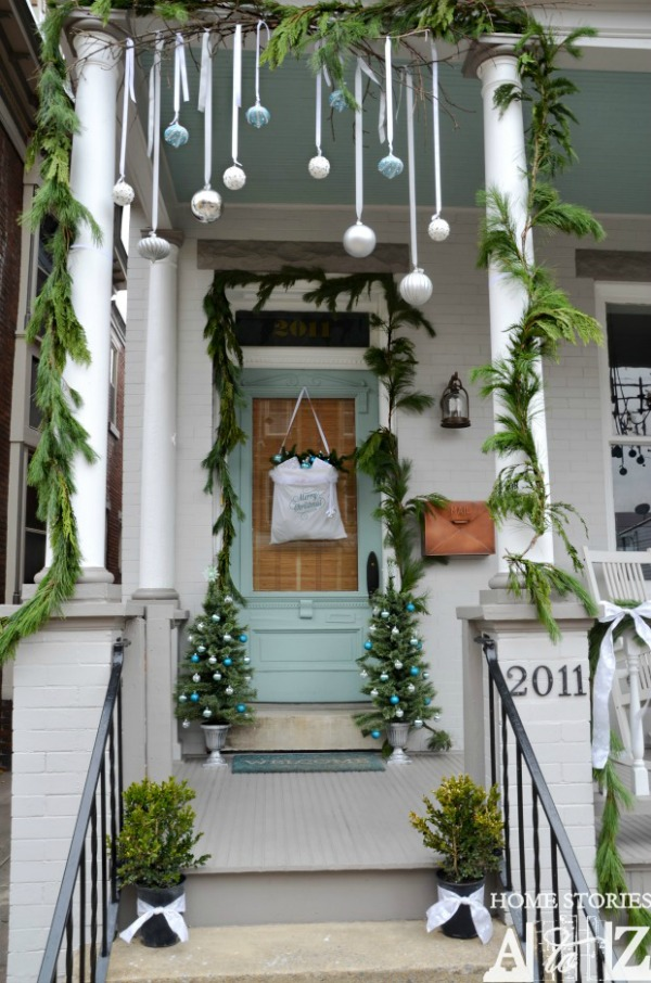 Hanging Ornaments on Porch