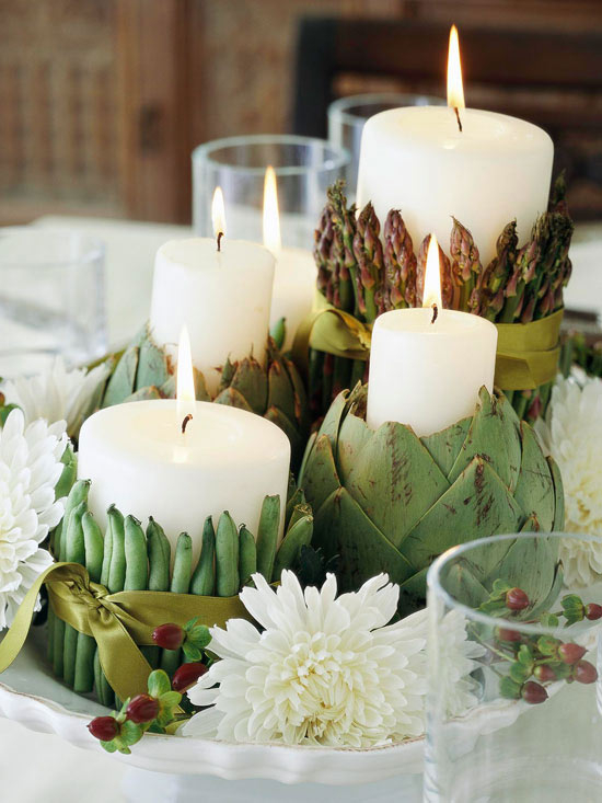 Artichoke and green bean candle holders