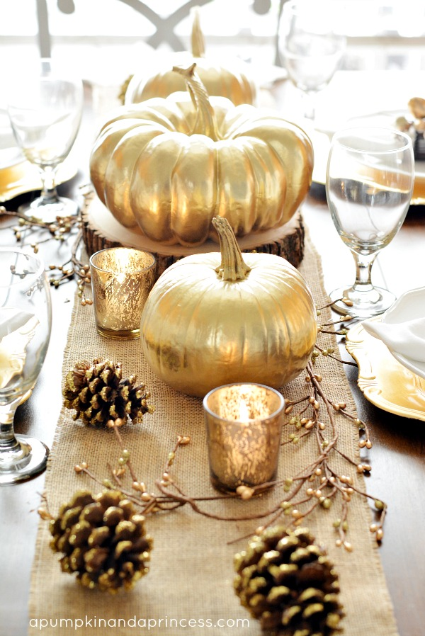 Gold pumpkin centerpiece