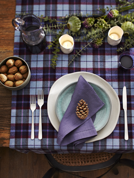 Purple plaid tablecloth