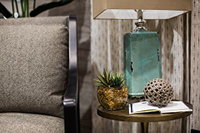 Side table with lamp and home decor